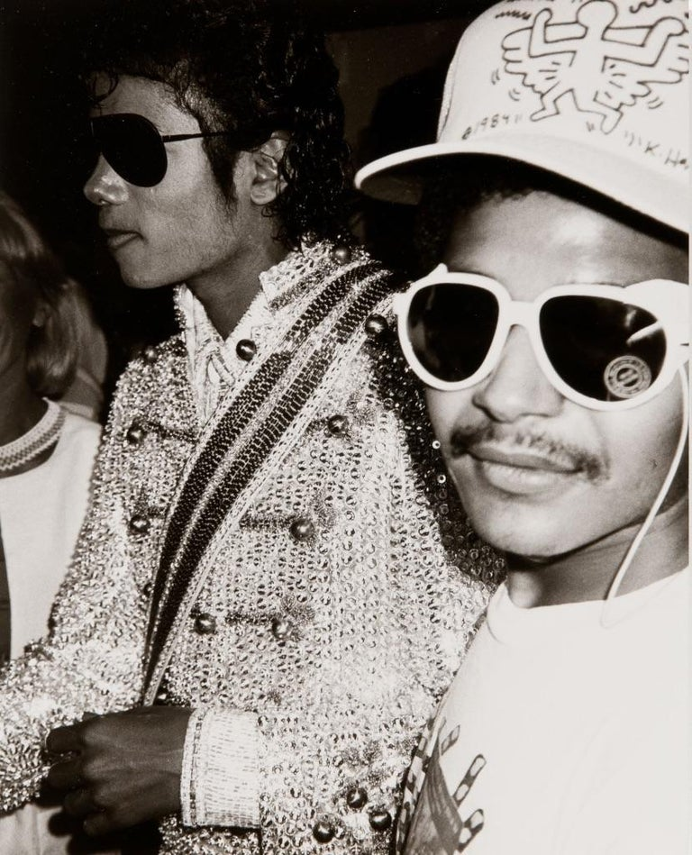 Andy Warhol Photograph of Michael Jackson Eazy-E Wearing a Keith Haring Hat - Gray Black and White Photograph by Andy Warhol