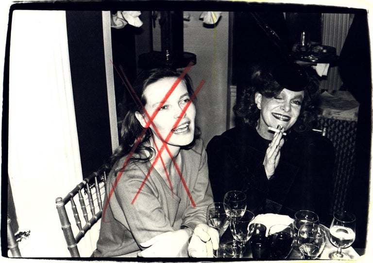 Andy Warhol, Photograph of Suzie Frankfurt and a Woman, 1970s - Black Black and White Photograph by Andy Warhol
