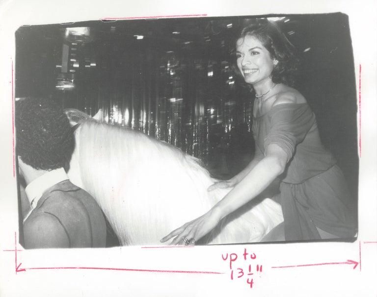Andy Warhol Black and White Photograph - Bianca Jagger - Birthday at Studio 54