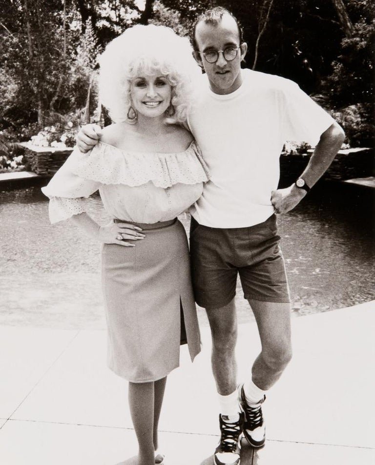 Andy Warhol Black and White Photograph - Keith Haring and Dolly Parton