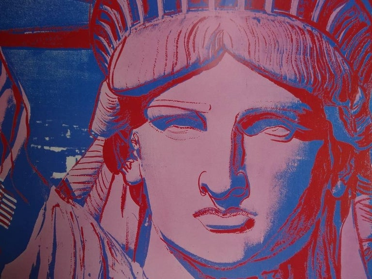 10 Statues of Liberty - Vintage Poster - 1986 - Gray Portrait Print by (after) Andy Warhol