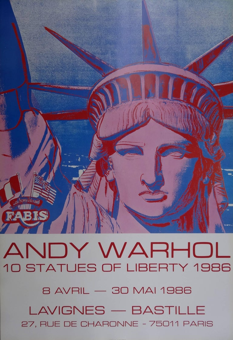 (after) Andy Warhol Portrait Print - 10 Statues of Liberty - Vintage Poster - 1986