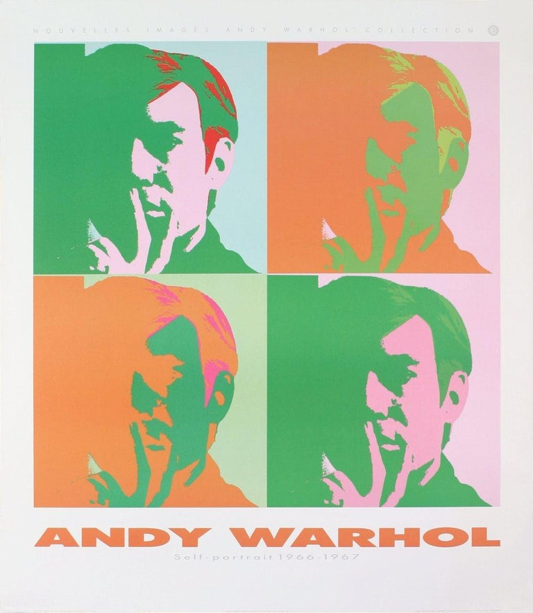 1989 After Andy Warhol 'Four Self Portraits' Pop Art Orange,Green,Pink  - Print by Andy Warhol