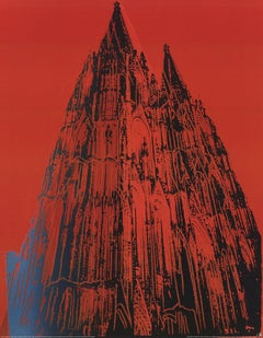 1989 Andy Warhol 'Koln Cathedral' Pop Art Red,Black Germany Offset Lithograph