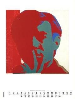 1991 After Andy Warhol 'Self-Portrait' Pop Art Red,Blue Offset Lithograph