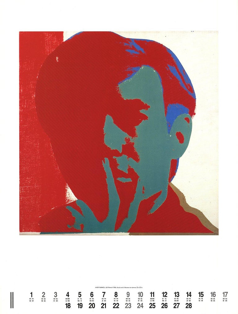 1991 After Andy Warhol 'Self-Portrait' Pop Art Red,Blue Offset Lithograph - Print by Andy Warhol