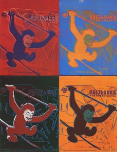 1993 Andy Warhol 'Four Monkeys (Lg)' Pop Art Multicolor Germany Offset Lithograp