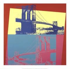 2014 Andy Warhol 'Brooklyn Bridge' Pop Art Yellow,Turquoise USA Giclee