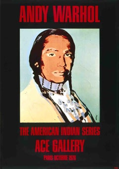 """After Andy Warhol-American Indian (Black)-49.25"""" x 35""""-Poster-1976-Pop Art"""
