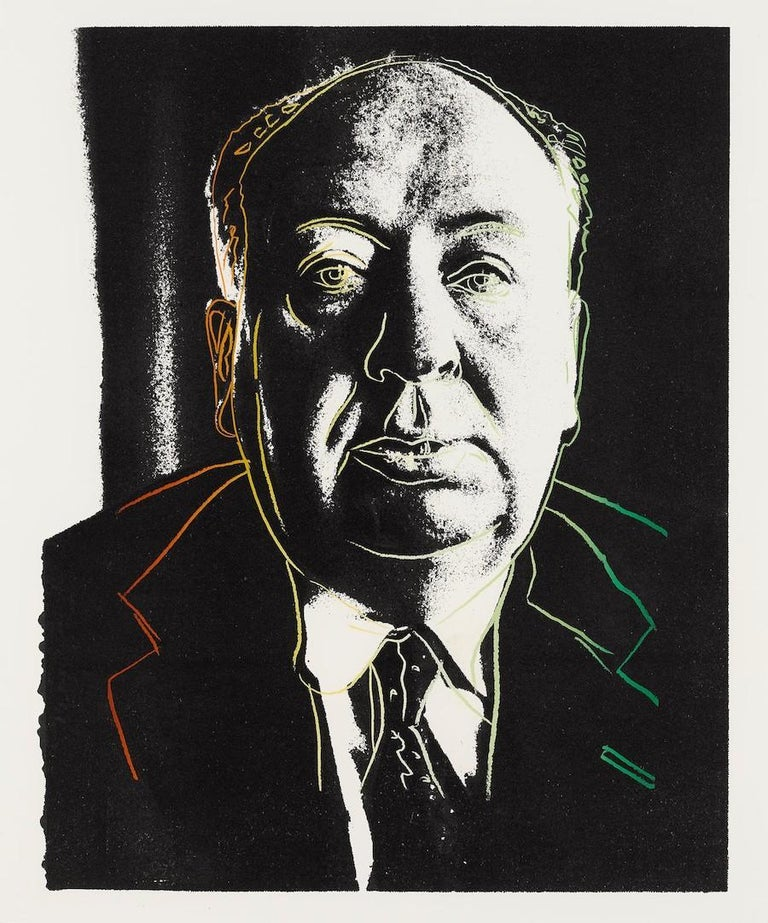 An iconic image from Hollywood's Golden Era, Andy Warhol's, Alfred Hitchcock was created by the artist as a unique color screenprint in 1983 measuring 30 ½ x 20 ¾ in. (77.5 x 52.7 cm), unframed.  Notated as FS.III.B.14a in the artist's catalogue