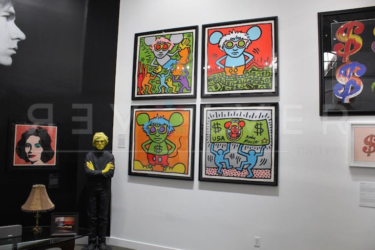 Keith Haring's Andy Mouse series – depicting Andy Warhol as an utterly cool, larger-than-life cartoon mouse – is a fitting homage from one Pop artist to another. Warhol and Haring shared a fascination for icons of Americana. Haring grew up drawing