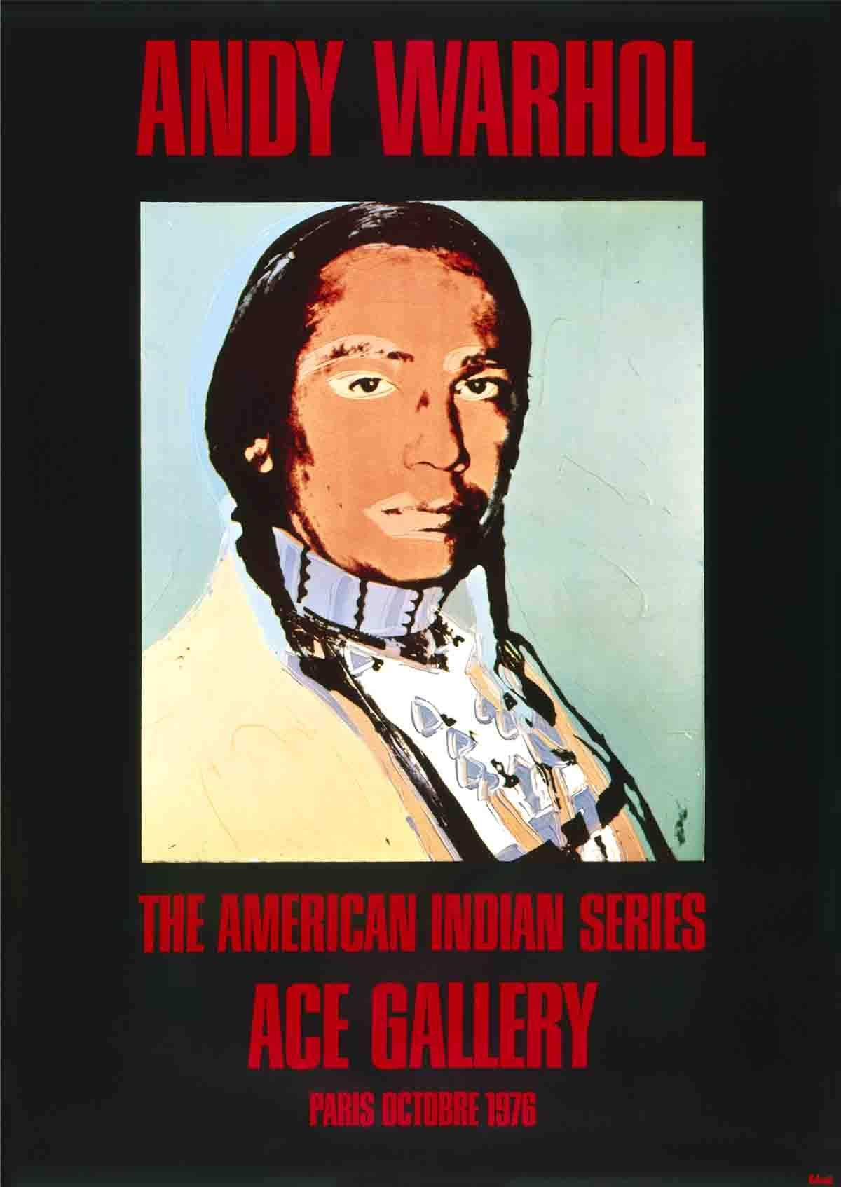 "Andy Warhol-American Indian (Black)-49.25"" x 35""-Poster-1976-Pop Art-Black, Red"