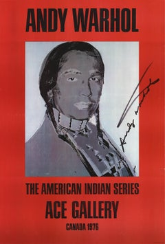 "Andy Warhol-American Indian (Red)-50"" x 34""-Offset Lithograph-1977-Pop Art-Gray"