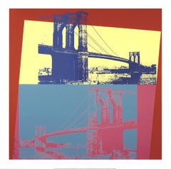 "Andy Warhol-Brooklyn Bridge-36"" x 36""-Giclee-2014-Pop Art-Yellow, Turquoise"
