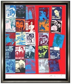 Andy Warhol Color Screenprint Hand Signed Portrait Magazine History Large Art FS