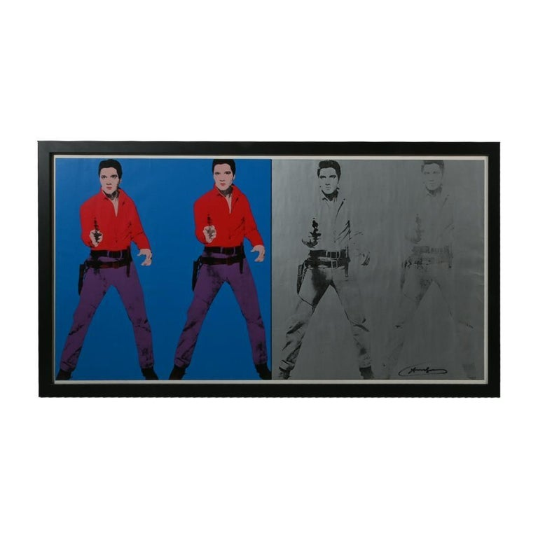 Andy Warhol (American 1928-1987)  Elvis l and ll, 1963 (1978)  Offset lithograph exhibition poster Signed in marker lower right: 'Andy Warhol' Printed in 1978 by Art Gallery of Ontario & Holland and Neil Ltd., Toronto, Canada Sight 19.75 inches H x