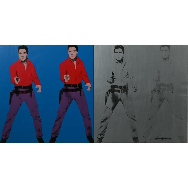 Andy Warhol 'Elvis I & II, 1978' Signed Print Exhibition Poster - Purple Figurative Print by Andy Warhol
