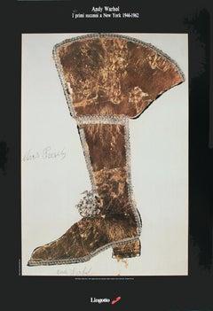 """Andy Warhol-Elvis Presley-39"""" x 26.75""""-Poster-1989-Pop Art-Brown, White-Elvis"""