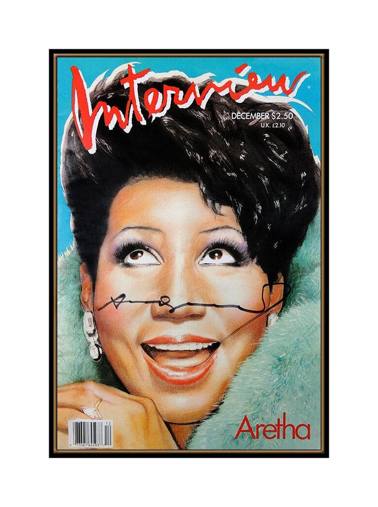 Andy Warhol Hand Signed Aretha Franklin Color Lithograph Interview Magazine Art - Pop Art Print by Andy Warhol