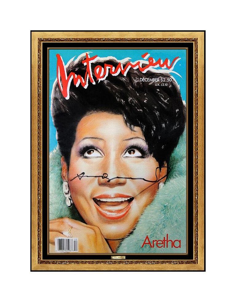 Andy Warhol Hand Signed Aretha Franklin Color Lithograph Interview Magazine Art - Print by Andy Warhol