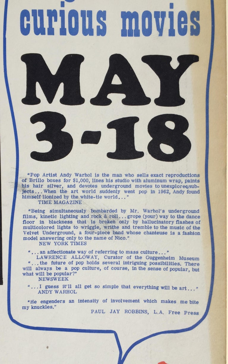 ANDY WARHOL - ICONIC 1966 POP CULTURE POSTER - event closed  by LA Police For Sale 1
