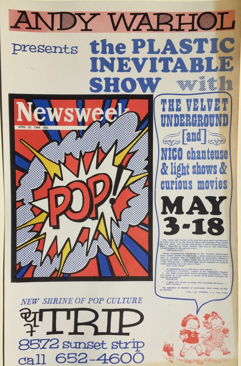 ANDY WARHOL - ICONIC 1966 POP CULTURE POSTER - event closed  by LA Police For Sale 3