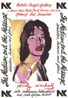 "Andy Warhol-Mick Jagger-28.5"" x 20""-Poster-1974-Pop Art-Black & White, Pink"