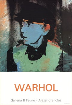 "Andy Warhol-Portrait of Man Ray-34.5"" x 23.5""-Poster-1980-Pop Art-Green, Blue"