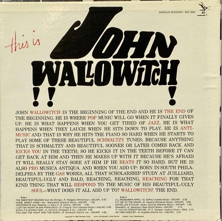 Andy Warhol Record Art 1964: 'This Is John Wallowitch' featuring Original Cover Art by Andy Warhol. One of the most visually striking of all Warhol album illustrations after that of the Warhol Velvet Underground banana. 1st pressing 1964. Catalog