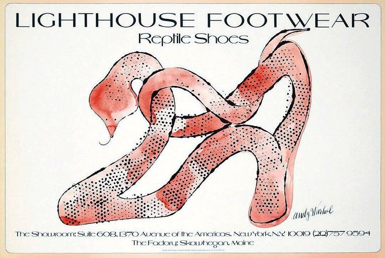 "Vintage 1970s Andy Warhol poster Original, vintage Warhol commissioned poster ""Lighthouse Footwear Reptile Shoes,"" Offset lithograph, New York, NY, 1979. A beautiful, simple, elegant & well-sized original Warhol collectible priced well-within reach."
