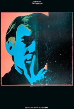 "Andy Warhol-Self-Portrait-39"" x 27""-Poster-1990-Pop Art-Blue, Red-head, famous"