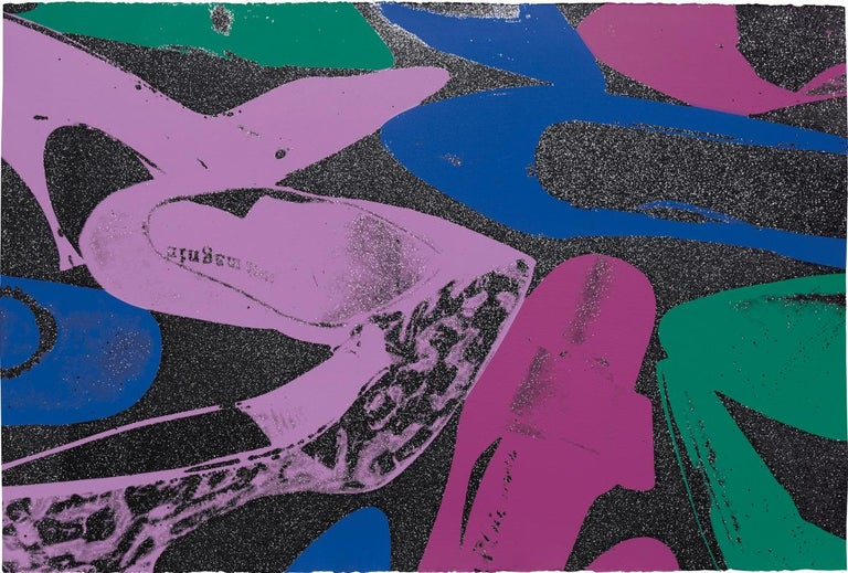 Andy Warhol, Shoes with Diamond Dust, 1980 - Purple Portrait Print by Andy Warhol