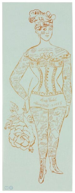 Andy Warhol 'Tattooed Woman Holding a Rose' Lithograph 1955