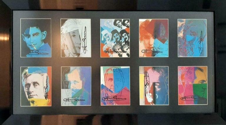 Andy Warhol Ten Portraits of Jews Hand signed invitation card portfolio FRAMED - Print by Andy Warhol