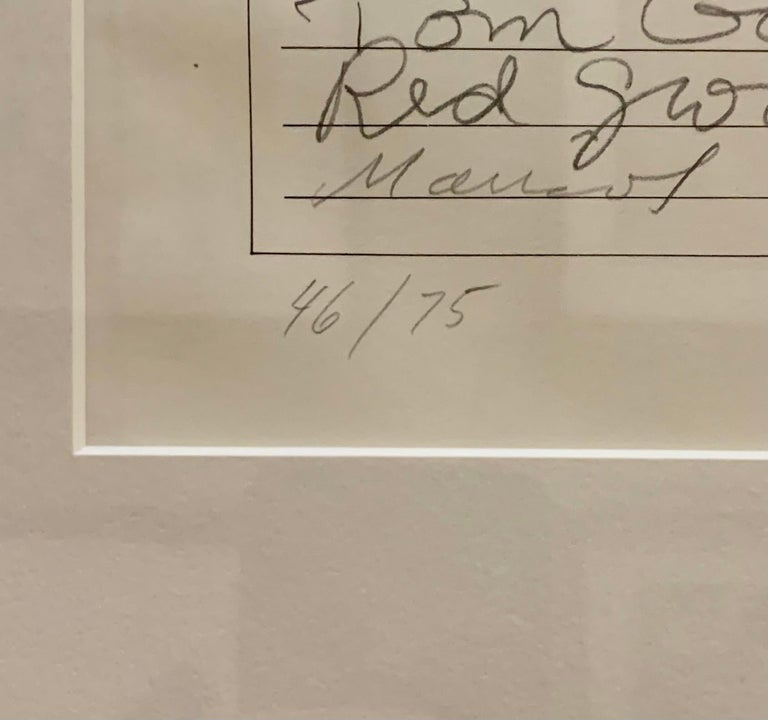 Artist: Andy Warhol, Robert Rauschenberg, Marisol, Red Grooms, Tom Gormley, and Bob Whitman Medium: Offset lithograph on paper Title: Art Cash (triptych) Signed: hand stamped by Andy Warhol, signed in pencil by Bob Whitman, Robert Rauschenberg, Red