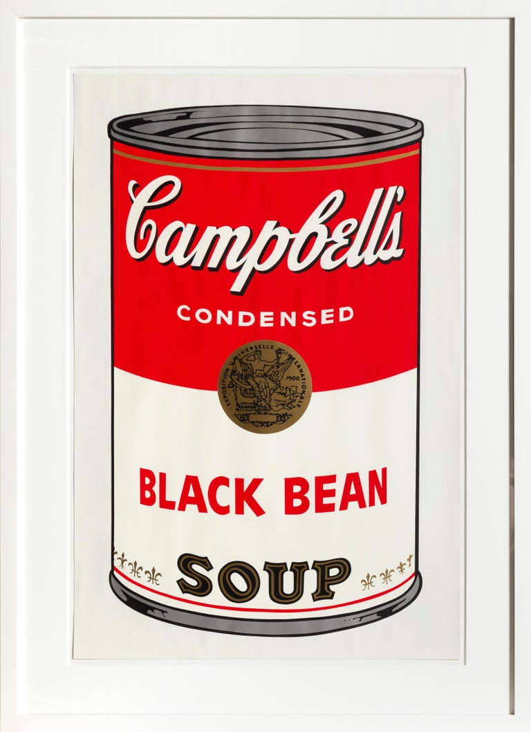 Artist:Andy Warhol Title:Black Bean from Campbells Soup I (FS.II.44) Year: 1968 Medium:Screenprint, signed in ball-point pen verso Edition:173/250 (stamped verso) Size:35 x 23 inches ; (88.9 x 58.4cm) Frame Size: 43.5 x 41.5 inches  Printer: