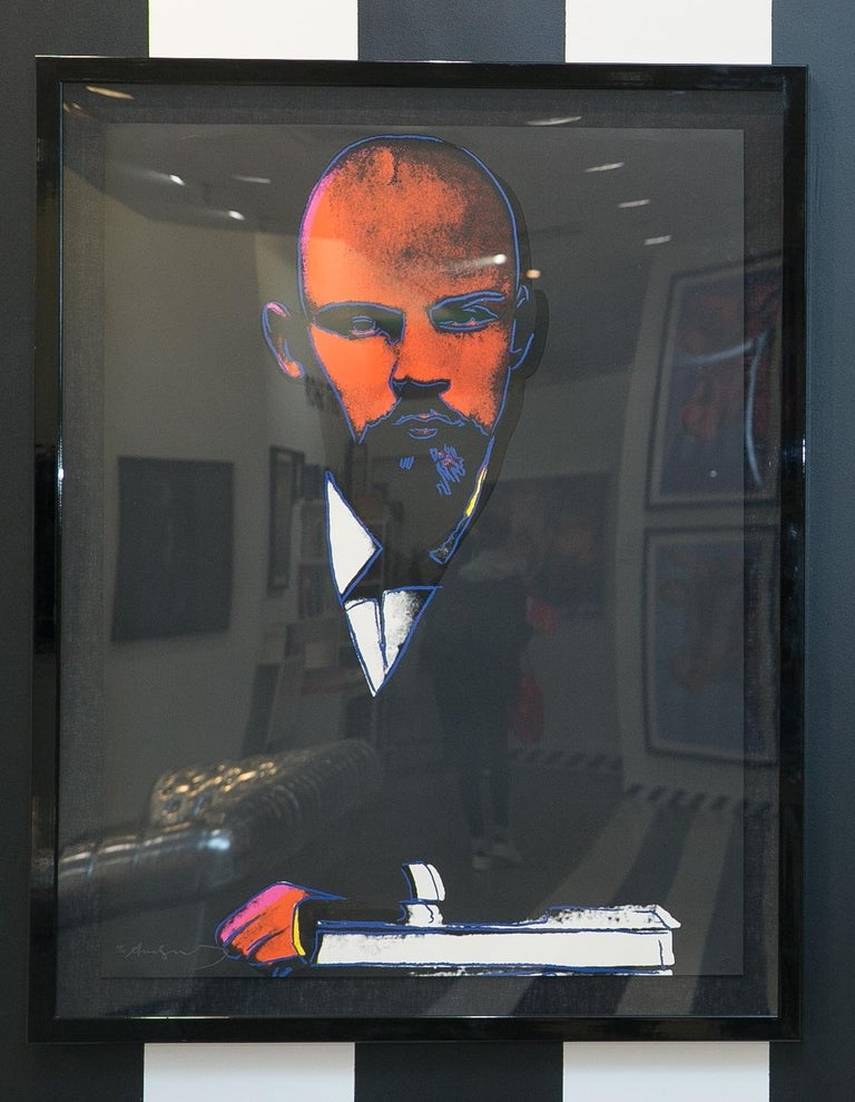 Lenin 1987 was Warhol's portrait of Vladimir Lenin, the political leader of Russia. Lenin was the father of Russia's communist revolution. Thus, this print includes shades of red, the color most associated with communism. Lenin is primarily black
