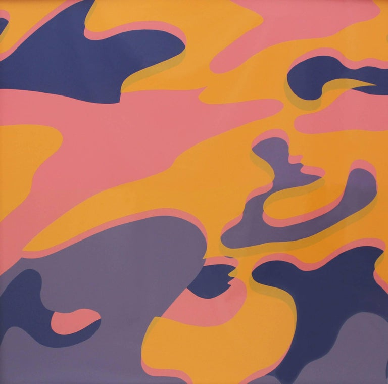 Andy Warhol's Camouflage is his final portfolio of screenprints produced before his death in 1987. Warhol put a pop art twist on the recognizable pattern used for American military uniforms with by printing it in his trademark vibrant colors. The