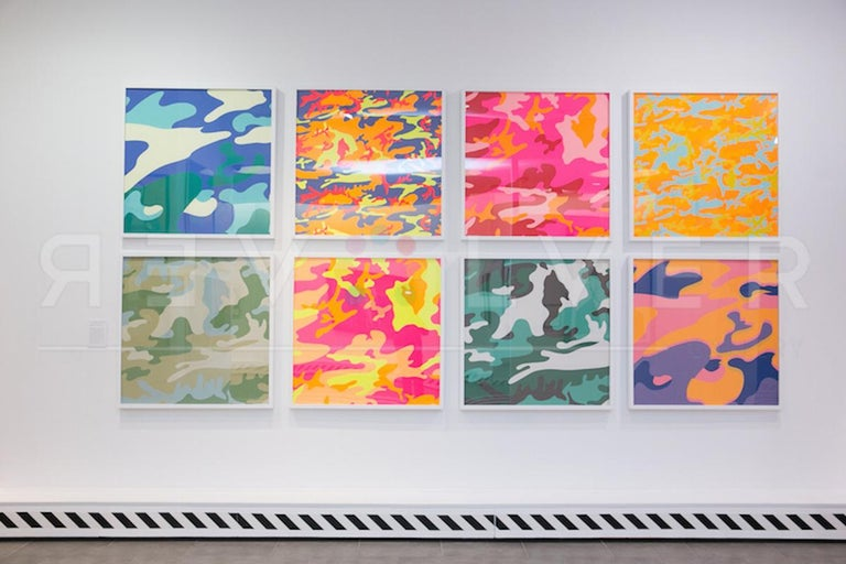 CAMOUFLAGE FS II.408  Camouflage FS II.408 is from the portfolio of eight prints that feature variations of the pattern mixed in with Warhol's signature use of bright colors. The Camouflage prints began rising in popularity as it held more