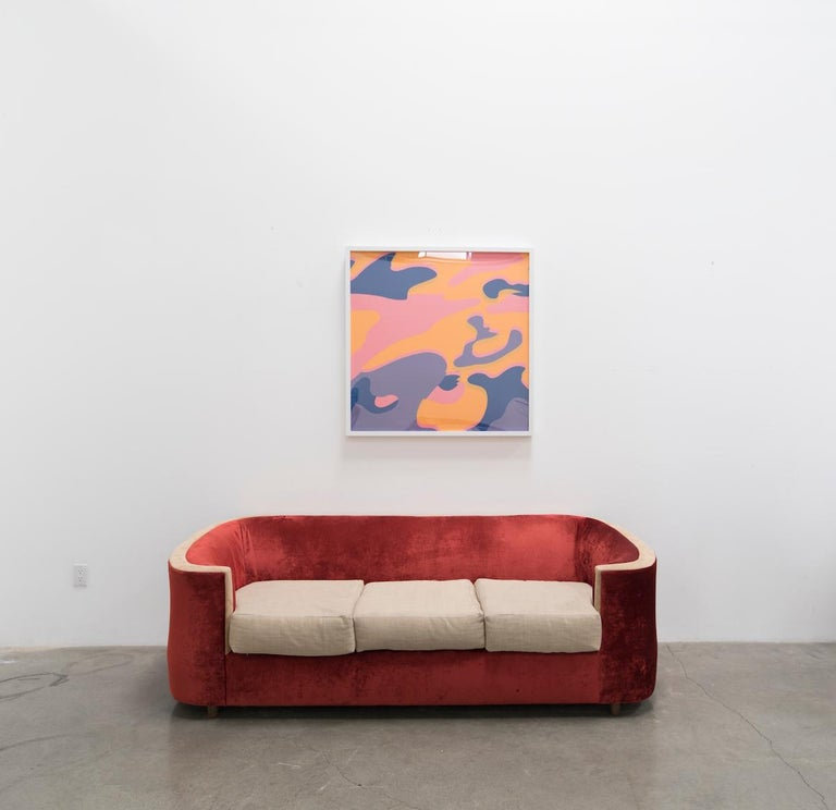 CAMOUFLAGE FS II.410  Warhol's Camouflage portfolio of 8 screen prints features variations of the camouflage pattern with great use of a variety of bright, fluorescent colors. Warhol chose to work with this design because it was an abstract pattern