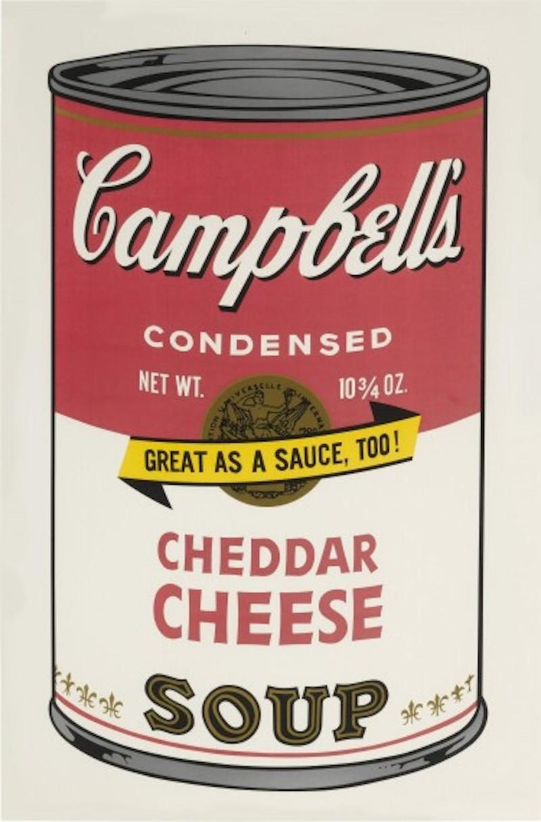 Among the most iconic and recognizable images by Andy Warhol,  Cheddar Cheese was created by the artist as part of the famed Soup II series in 1969 and is a color screenprint on wove paper that is signed  and numbered in pencil.  Measuring 35 x 23