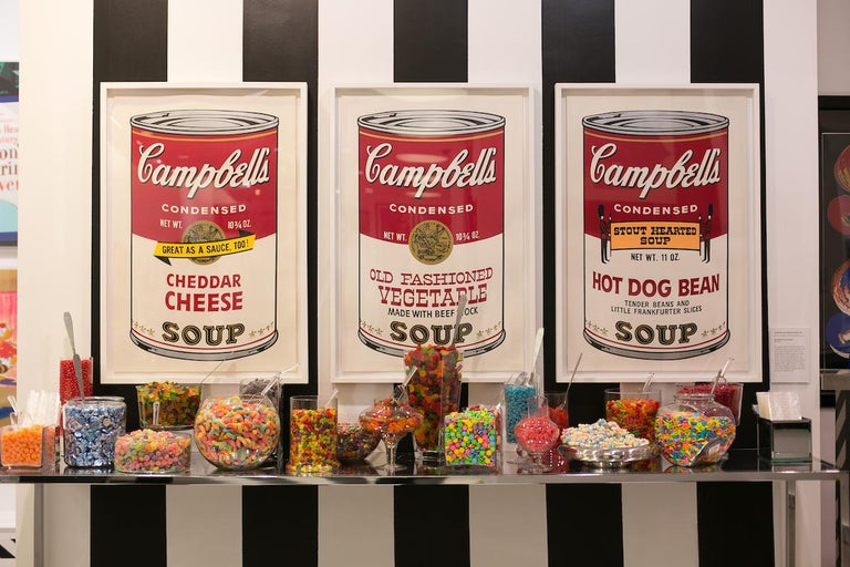 CAMPBELL'S SOUP II: HOT DOG BEAN 59  Warhol's Campbell's Soup II: Hot Dog Bean 59 is one of ten prints from his Campbell's Soup II portfolio, which follows his first portfolio of Campbell's Soup can imagery. In this collection, Warhol takes the