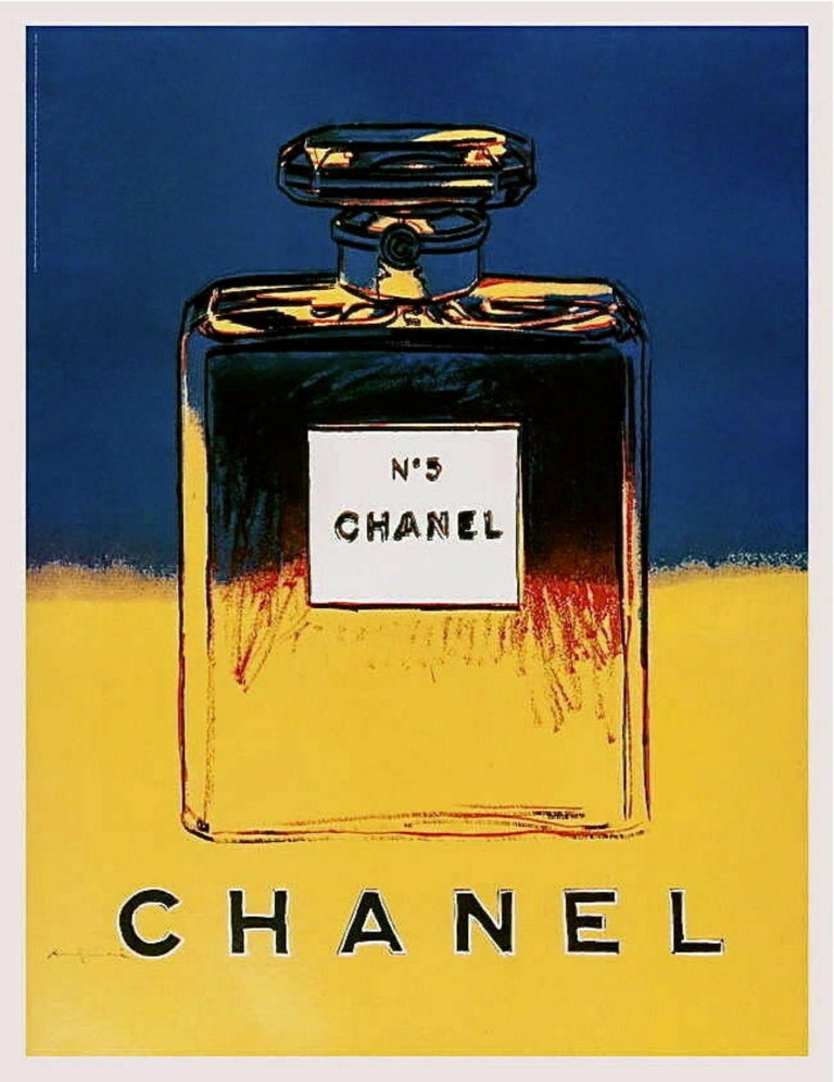 Chanel (Yellow & Blue) Lithograph on Paper Mounted on Canvas Andy Warhol - Print by Andy Warhol