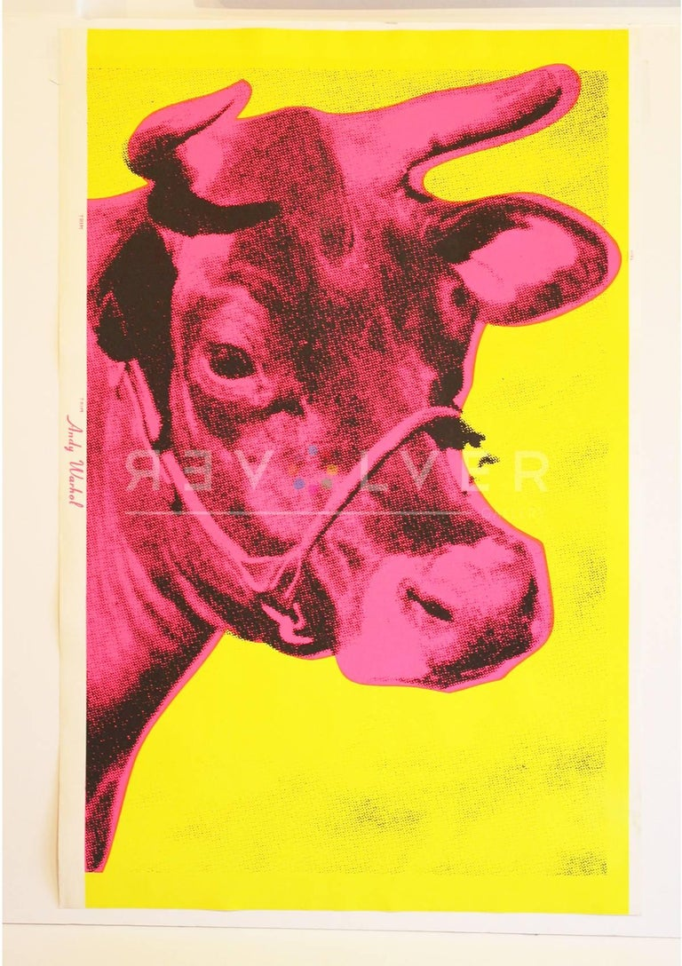 Andy Warhol was inspired by art dealer Ivan Karp to create his Cows in the 1960s. An unlimited edition and is unsigned and unnumbered (100 were signed with a rubber stamp and numbered on the verso; some were date on the recto). Karp suggested to