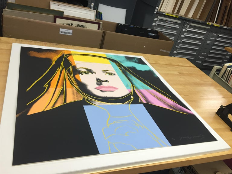 The Ingrid Bergman series is made up of three types of screen prints of the Academy Award winning actress in 1983. The source images used for these portrait pieces include movie still from her role in Casablanca ('With Hat'), a movie still from the