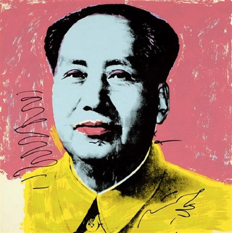 Published in 1972 and created as part of a ten print portfolio, Mao #97 is a color screenprint by Andy Warhol that is hand-signed in pen and numbered (with a rubber stamp), verso, measuring 36 x 36 in. (91.4 x 91.4 cm.), unframed.  From the edition
