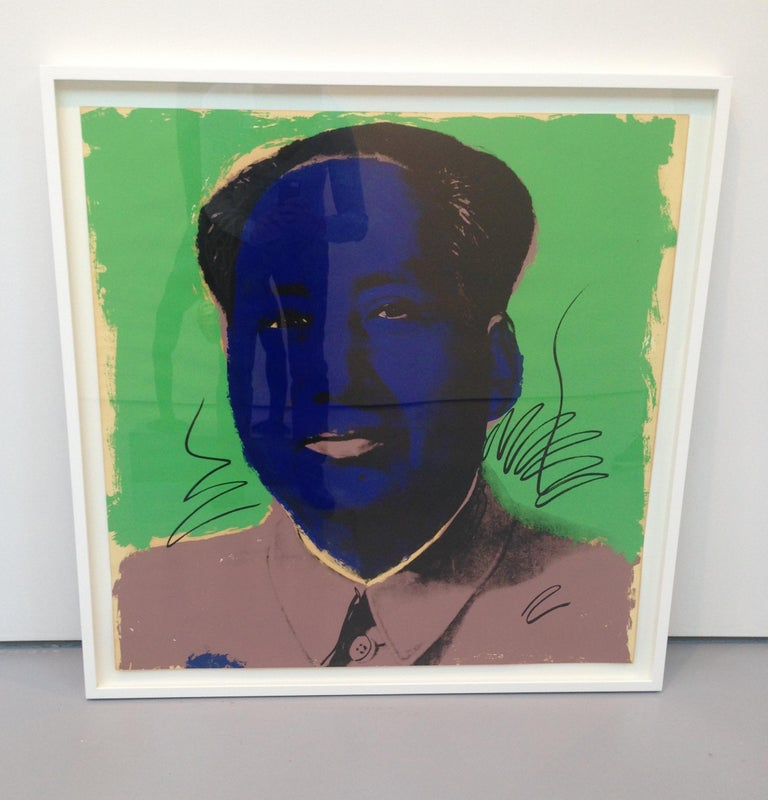 MAO 90  Mao 90 is a part of his notorious Mao series, that sparked up much controversy. Warhol presents Mao Zedong, the Former Chairman of the Communist Party of China, in a style reminiscent of his celebrity portraits. He fuses together the image