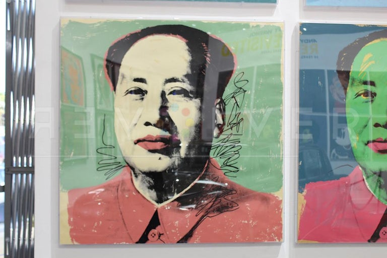 MAO 95  Warhol presents Mao Zedong (1893 – 1976), the Former Chairman of the Communist Party of China, in a style reminiscent of his celebrity portraits. He fuses together the image of totalitarian propaganda and the colors found in his celebrity