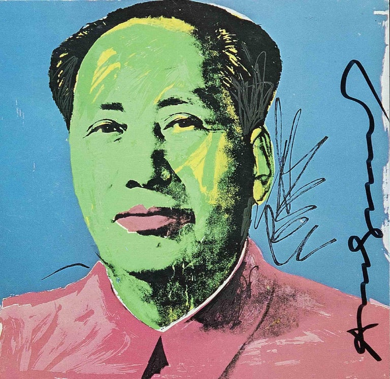 Mao Tse-Tung is an original colored offset and silkscreen realized in 1972 by the Pop artist Andy Warhol.  Hand-signed with pen-marker by the artist.  Includes a frame: 41.7 x 3.5 x 41.7 cm.  Reference: Feldman and Schellmann II 93.  The artwork