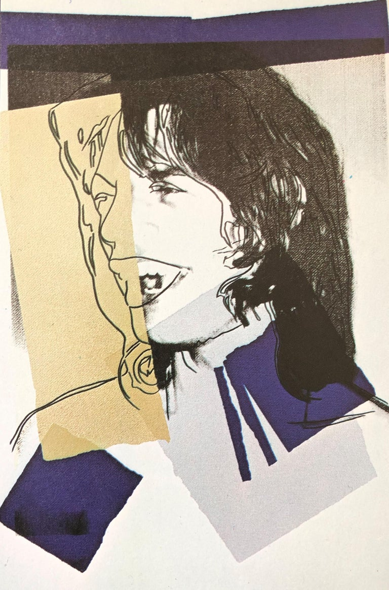 After Andy Warhol. Portfolio of ten signed announcement cards, c1975.  These prints feature images of Mick Jagger -  an iconic rock legend and the lead singer of the Rolling Stones. These postcard sized prints were produced for the 1975 publication